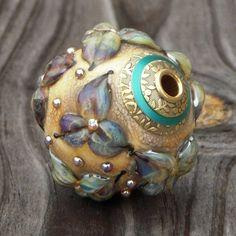"Handmade lampwork bead, fits European add a bead chains, focal, pendant, ""Elegant"". $65,00, via Etsy."