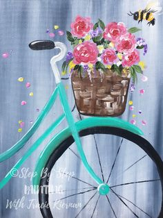 Spring Bicycle Painting Learn to paint a bicycle with a basket of flowers and a cute bumblebee. This acrylic painting tutorial includes a free traceable of the bicycle. There's quite a few colors… Easy Flower Painting, Acrylic Painting Flowers, Acrylic Painting Canvas, Painting Art, Paint Flowers, Watercolor Art Paintings, Painted Canvas, Pour Painting, Oil Paintings