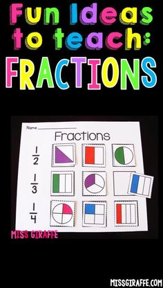 Teaching Fractions Fun Ideas and Activities to make it so easy even in first grade! Small Group Activities, Fun Math Activities, Math Games, Teaching Fractions, Teaching Math, Maths, Math Talk, Math Concepts, Math Lessons