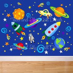 Set of Outerspace Boy's Bedroom Bathroom Baby by ToadAndLily, $135.00