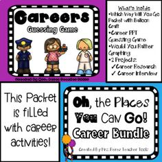"This bundle is filled with career activities. I started off with the an ""Oh, The Places You'll Go"" theme, but it grew and grew and turned into a bundle of ""career"" activities. Included are:  Activities to explore student interests that lead to a career A look at our family members career Career Research Project Career Banners (3 options) What's Your Career Paper Bag Project (Interview a family member about their career.) Would You Rather Graphing Activity & Cards Career Guessing Game Pow..."