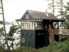"lake cottage boathouse: I can live in this all Summer long in my backyard ""forest"" as a get-away room"