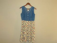 90s denim and floral sleeveless dress by mellowrabbit on Etsy, $26.00