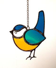 Stained Glass Bird Blue Tit Suncatcher by AnnSmythStainedGlass