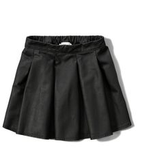 Abercrombie & Fitch girls Faux Leather Skater Skirt ($35) ❤ liked on Polyvore featuring skirts, black, draped skirt, elastic waist skirt, abercrombie & fitch, black elastic waist skirt and faux leather flared skirt