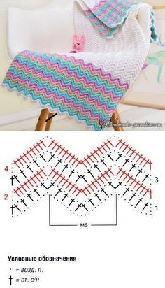 New crochet mantas patrones ganchillo Ideas Plaid Au Crochet, Zig Zag Crochet, Crochet Ripple Blanket, Crochet Pillow Pattern, Crochet Motifs, Crochet Diagram, Crochet Chart, Diy Crochet, Crochet Patterns