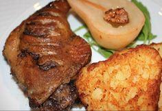 Konfitált kacsacomb borban gőzölt körtével és röszti burgonyával Meat Recipes, Cake Recipes, Poultry, Baked Potato, Steak, Pork, Food And Drink, Breakfast, Ethnic Recipes