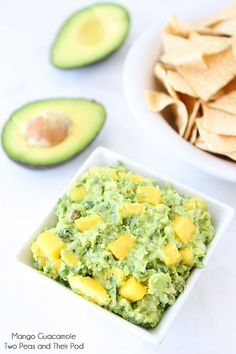 Guacamole made with mango and cilantro. This easy guacamole recipe is perfect for chip dipping or goes great with fish, chicken, or any Mexican meal. Guacamole Recipe Easy, Avocado Recipes, Fruit Recipes, Mexican Food Recipes, Cooking Recipes, Potato Recipes, Vegetable Recipes, Healthy Snacks, Gourmet