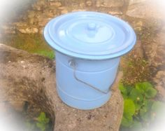 Blue Enamelware Bucket. #3 Very Vintage French. Very Rustic. Garden Decor, Bathroom Bin, Toiletries,  unusual Vase. Endless Ideas. by fleursenfrance. Explore more products on http://fleursenfrance.etsy.com
