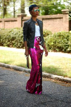 Skirt Sequin Outfit Street Styles New Ideas Sequin Skirt Outfit, Maxi Skirt Outfits, Sequin Maxi Skirts, Sequined Skirt, Sequin Pants, Pants Outfit, Diva Fashion, Fashion Outfits, Womens Fashion