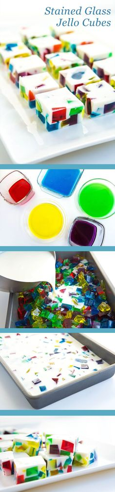 Whip up the prettiest dessert your guests have ever seen with these stained glass rainbow Jello cubes! Jello Recipes, Köstliche Desserts, Delicious Desserts, Dessert Recipes, Rainbow Jello, Rainbow Food, Stain Glass Jello, Good Food, Yummy Food