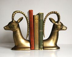 Vintage Bookends Gazelle or Deer Brass Bookends by CalloohCallay
