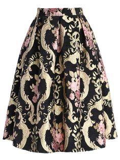 Falda con vuelo rosas-negro