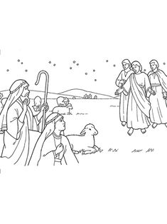 Search results for image shepherds and angels coloring for Angels announce jesus birth coloring pages