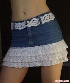 DIY Crafts with old jeans - DIY Layered Lace Skirt - Cool projects and fashion that . - DIY Crafts with Old Jeans – DIY Layered Lace Skirt – Cool projects and fashion that you can do - Diy Jeans, Diy Clothes Jeans, Clothes Crafts, Crochet Skirts, Crochet Clothes, Sewing Clothes, Crochet Ruffle, Crocheted Lace, Crochet Trim