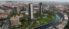 Dos rascacielos sustituirán al Calderón. Proyección realizada por el Ayuntamiento de Madrid del ámbito junto al río Manzanares una vez concluida la reforma.Madrid