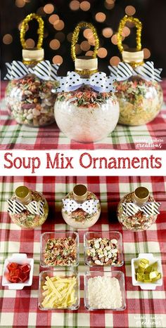 Start Out Your Very Own Sewing Company Soup Mix Ornaments Such A Cute Idea For Easy Christmas Gifts That Double As A Delicious Meal Who Wouldn't Like A Warm And Delicious Cup Of Soup? Diy Christmas Presents, Homemade Christmas Gifts, Christmas Goodies, Christmas Treats, Homemade Gifts, Handmade Christmas, Holiday Gifts, Christmas Recipes, Santa Gifts