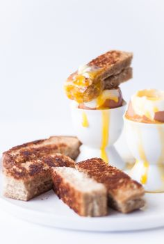 Soft-Boiled Eggs with Grilled Cheese Soldiers