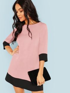 Pink Office Lady Colorblock Contrast Trim Tunic O-Neck Sleeve Straight Dress Autumn Workwear Women Dresses Pink XS Women's Dresses, Dresses Online, Dress Outfits, Fashion Dresses, Spring Dresses, Look Fashion, Womens Fashion, Feminine Fashion, Fashion Black