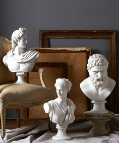 Pantheon Busts - Set of 3 - A set of three Pantheon Busts featuring Apollo - the God of music and knowledge, Poseidon - God of the sea, and Diana - Goddess of the hunt and the moon are cast in resin and ready to be perched in your favorite décor space. Blend with transitional style pieces with the detailed, smooth, white and classic busts that are inspired by the sleek marble beauty of genuine pantheon busts.
