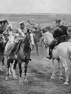 Tsar Nicolas II and French General Joffre, 1913. Meeting between the Emperor of all the Russias with General Joffre, cief of the french military mission, representing French ally, during major military maneuvers held in Tsarskoe Selo