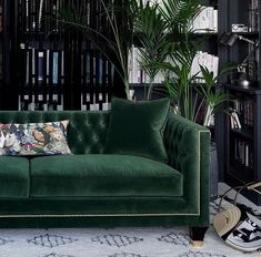 Tailored, Trendy and Art Deco! Balfour is our most charming, luxury sofa boasting a fusion of contemporary and classic style, perfectly combined in this divine hand finished piece. Photographed in House Velvet - Forest Green with gold studding, gold cappe Decor, Luxury Sofa, Home Decor Styles, Living Room Green, Living Room Designs, Interior, Art Deco Living Room, Home Decor, Green Decor
