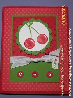 StampingHare...retiring stamp sets card class featuring Stampin' Up's! Button Buddies stamp set. inspired by Jamie Hurley's card. #stampinup #diy #cherries