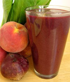 Peach-Blueberry Green Smoothie Recipe with Beet & Bok Choy via Incredible Smoothies