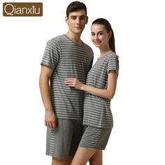 wholesale 2015 Brand Men Summer striped Pajama sets basic O-neck shirt    half pants Cotton Modal sleepwear Sets casual Home clothes e50e33c53