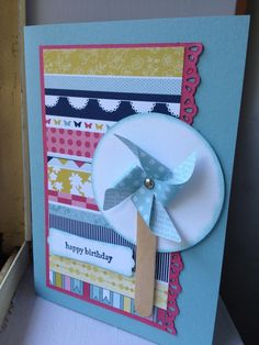 Linda Higgins - Pinwheel die card with Patio Party DSP
