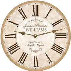 This Wedding Clock features a very neutral and slightly aged look. With its neutral tope and gold color scheme it is sure to blend with any decor. It can be personalized with your own wording.    HOW TO ORDER  To order this clock just choose your size, click the add to cart button and proceed to the checkout page........Then type the wording you would like to appear above and below the clock hands in the Note to buyer Field and complete your purchase!    All clocks are made to order in my…
