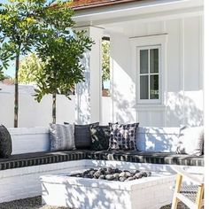 """130 Likes, 2 Comments - Jill Johnson (@waterleafinteriors) on Instagram: """"Outdoor bench inspiration for our #tenthstreetproject! Love the painted white brick! #paintedbrick…"""""""