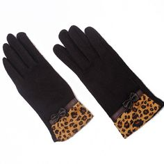 Cashmere Leopard Gloves - Coffee