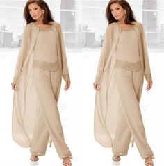 2016 Champagne 3 Pieces Mother of the Bride Suits with Long Jackets Long Sleeves Beaded Chiffon Mother&039;s Pant Suit Plus Size Mother Wear
