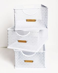 Definitely need to make these DIY leather labels that look great attached to chic metal bins. A few of these will definitely add some organization to the pantry.
