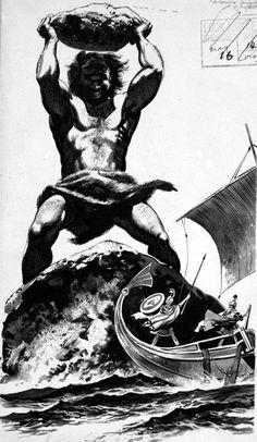 Odysseus & The Cyclops (Original) art by Gerry Embleton Archive