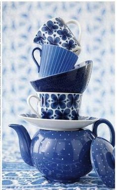 Blue teapot and teacups! Dennis I am sure you would like this colour.