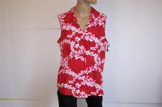 JACLYN SMITH Shirt Blouse Sz L Sleeveless Silk Red Pink Floral Button Front NWT #JaclynSmith #ButtonDownShirt #Career