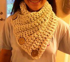 3 button crochet cowl. Gauge not important.