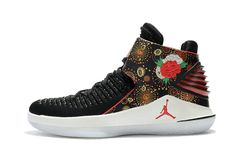 cb468e75c58610 Official Air Jordan 32 Cny Chinese New Year Mens Basketball Shoes Black  University Red White-Metallic Gold