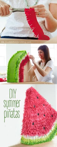 Fun, festive fruit can be the center of your outdoor party with this DIY Summer-Inspired Piñata craft from Think.Make.Share, a blog from the Creative Studios at Hallmark. This watermelon decor will add vibrancy and fun to your next celebration!