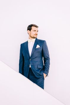 navy blue groom's suits - photo by Elias Kordelakos http://ruffledblog.com/destination-wedding-weekend-in-sifnos-greece