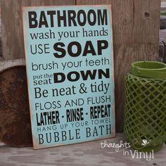 Bathroom Rules Subway Art