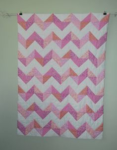 Pink Chevron Baby Quilt by BundlesofJoybyAngela on Etsy, $35.00