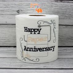 Happy 1st Paper Anniversary embroidered toilet paper, first 1st anniversary, funny gag gift, white elephant, bathroom decorations, joke gift by DesignsByRAJA on Etsy
