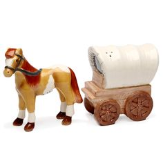 Novelty Salt And Pepper Shakers: Stallion And Covered Wagon Matching Salt  And Pepper Shakers