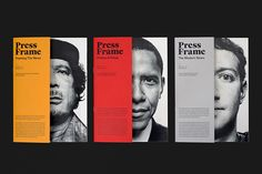 PressFrames - Graphic Design - Editorial Design, Print, News, Frames, Black and… Graphic Design Layouts, Graphic Design Posters, Brochure Design, Graphic Design Inspiration, Yearbook Design Layout, Magazine Design Inspiration, Modern Graphic Design, Daily Inspiration, Graphisches Design