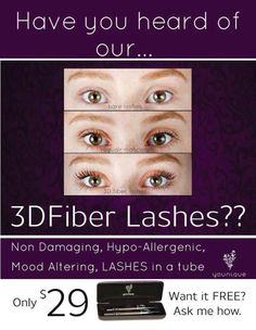 ~~ Get long luscious lashes ~~ Natural ~ No Glue ~ Washes off ~ Goes on like Mascara!  PM me!! $29USD $35CAD