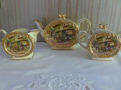 Vintage Sadler Barrel Teapot Set Coach House by MuskRoseVintage