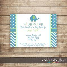 Elephant Baby Shower Invitation / Twins Baby Shower / Polka Dots & Chevron Invitation, Printable